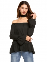 Black Choker Slash Neck Long Flare Sleeve Solid Tops