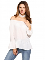 White Choker Slash Neck Long Flare Sleeve Solid Tops