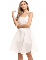 White Women Fashion Loose Halter sans manches Solid Party Beach Chiffon A-ligne Robe