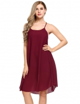 Wine red Women Fashion Loose Halter sans manches Solid Party Beach Chiffon A-ligne Robe