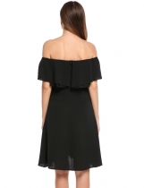 Black Slash Neck Off Shoulder Solid Ruffle Sleeve A-Line Pleated Hem Tunic Ruffle Brim Dress