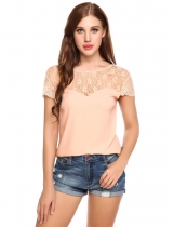 Apricot V-Back Cap Sleeve Floral Lace Chiffon Casual Blouse