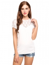 White V-Back Cap Sleeve Floral Lace Chiffon Casual Blouse