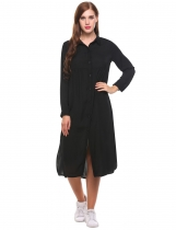 Black Long Sleeve Casual Loose Solid Side Split Shirt Casual Dress