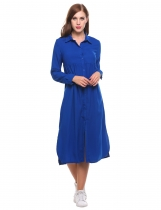 Blue Long Sleeve Casual Loose Solid Side Split Shirt Casual Dress