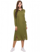 Green Long Sleeve Casual Loose Solid Side Split Shirt Casual Dress