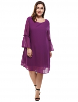 Purple Flare Sleeve Casual Loose Chiffon A-Line Plus Size Casual Dress