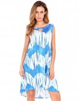 Blue Sleeveless Keyhole Printing Asymmetrical Tunic Dress