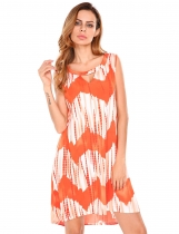 Orange Sleeveless Keyhole Printing Asymmetrical Tunic Dress