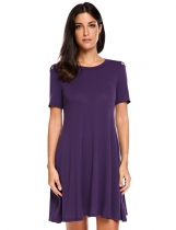 Purple Mujeres de manga corta recortado hombro casual A-Line Dress