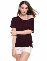 Purple Batwing Short Sleeve Solid Casual Shirring Dolman Top