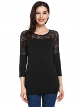 Black 3/4 Sleeve Lace Patchwork Casual Slim Fit T-Shirts