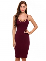 Wine red Strap Backless Sleeveless Solid Club Going Out Dress