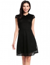 Black Cap Sleeve Hollow Floral Lace A-Line Mini Dress