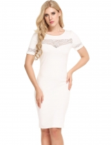 White Short Sleeve Lace Patchwork Elastic Pencil Dress