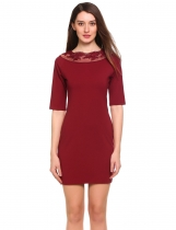 Dark red O-Neck Short Sleeve Patchwork Lace Slim Dress