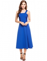 Dark blue Mujeres Casual sin mangas de remiendo cuello cuadrado Cocktail Backless vestido maxi