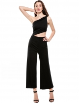 Black Sleeveless Solid Backless Clubwear Oblique Collar Slim Sexy Jumpsuit