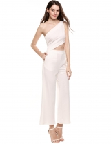 White Sleeveless Solid Backless Clubwear Oblique Collar Slim Sexy Jumpsuit