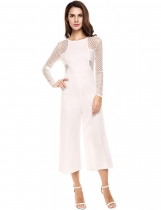 White Long Sleeve O-Neck Net Patchwork Stretch Jumpsuit