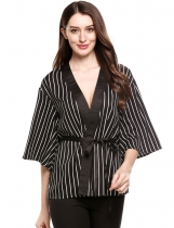 Black Long Sleeve Loose Open Front Striped Kimono Cardigan With Belt