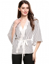 White Long Sleeve Loose Open Front Striped Kimono Cardigan With Belt