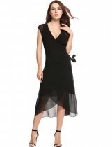 Black Casual Front Bandage Asymmetrical Hem Chiffon Dress