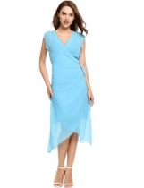 Light blue Casual Front Bandage Asymmetrical Hem Chiffon Dress