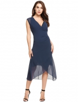 Navy blue Casual Front Bandage Asymmetrical Hem Chiffon Dress