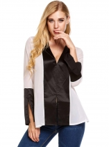 White Long Sleeve Satin Chiffon Patchwork Split Loose Tops