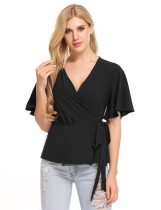 Black Flare Sleeve Solid Wrap Front Tie Slim Fit Blouse