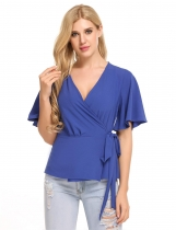 Blue Flare Sleeve Solid Wrap Front Tie Slim Fit Blouse