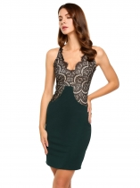 Green V-Neck Sleeveless Lace Patchwork Bodycon Dress