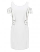White Plus Size Cold Shoulder Ruffles Sleeve Solid Shift Dress