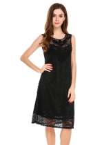 Black Sleeveless Solid Loose Fit Casual Floral Lace Tunic Dress