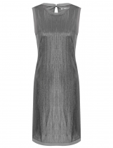 Silver O-Neck Sleeveless Metallic Glitter Loose Fit Party Dress