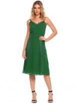 Green Spaghetti Strap Lace Patchwork Chiffon Dress