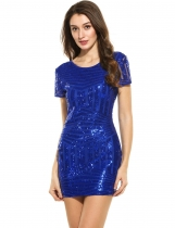Blue Women Casual Short Sleeve Striped O Neck Sequined Mini Party Dresses