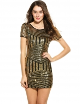 Gold White Women Casual Short Sleeve rayé O Neck Sequined Mini Robes de soirée