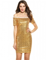 Gold Women Casual Short Sleeve Patchwork Sequined Off Shoulder Pullover Mini Robes de soirée
