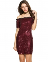 Vin rouge Femmes Casual Short Sleeve Patchwork Sequined Off Shoulder Pullover Mini Party Dresses
