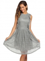 Gray Sleeveless Solid Ruffles A-Line Dress