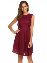 Wine red Sleeveless Solid Ruffles A-Line Dress