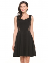 Black Sleeveless Waist See-through A-Line Pleated Hem Elastic Tank Dress
