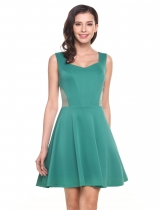 Green Sleeveless Waist See-through A-Line Pleated Hem Elastic Tank Dress