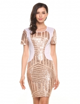 Gold Sexy O-Neck Short Sleeve Sequins Patchwork Back Hollow Out Slim Dress