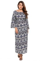 Plus Size Boat Neck Printed 3/4 Sleeve Print Loose Dress