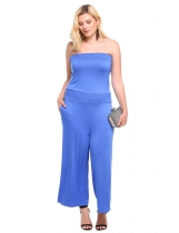 Blue Strapless Solid Wide Leg Pocket Plus Size Jumpsuit