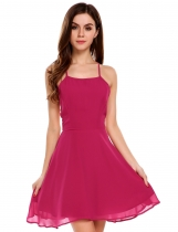 Rose red Solid Strap Back Cross Bandage Skater Dress