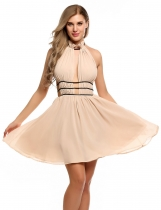 Nude Sexy Halter Keyhole Sleeveless Backless Bandage Asymmetry Dress